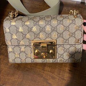 Gucci Small Padlock GG Canvas and Leather Bag